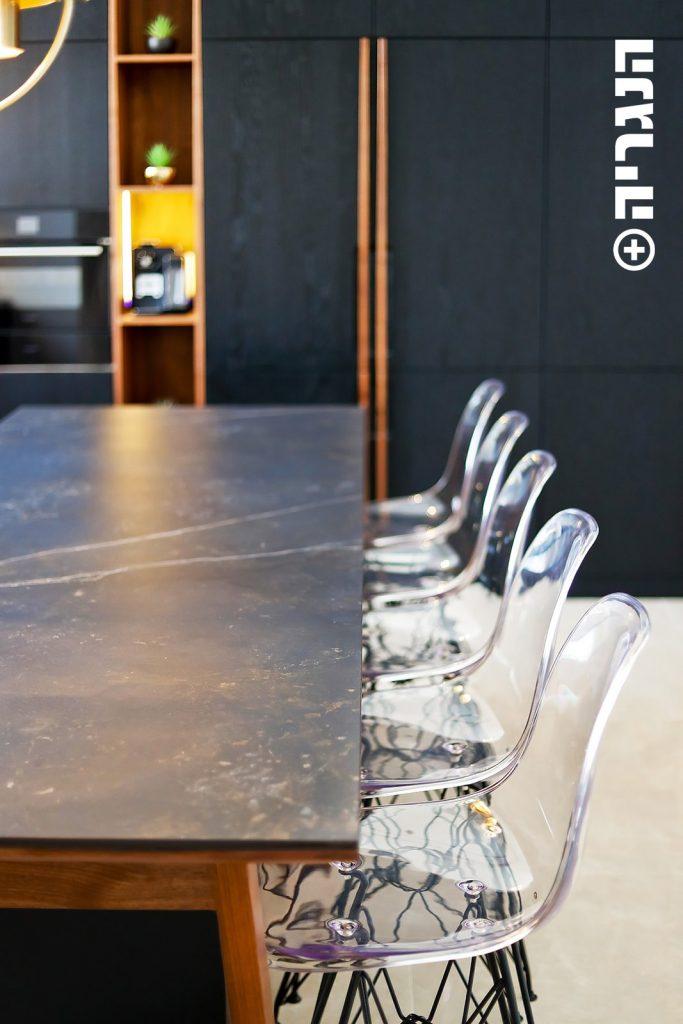 מטבח אלון שחור ואגוז אמריקאי שולחן אי