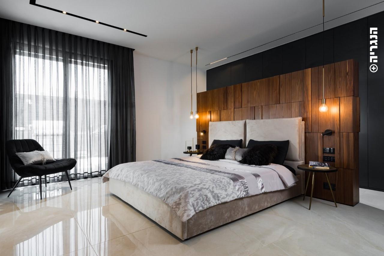 ארון בגדים שחור בשילוב גב מיטה תלת מימד